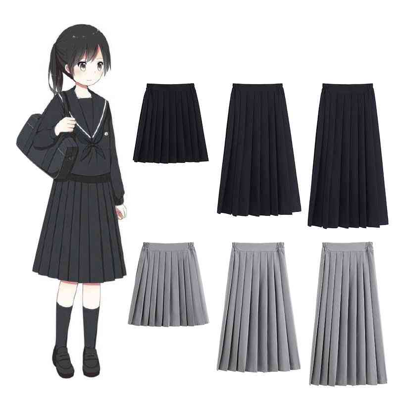 Solid Color Pleated, Jk Suit Style Bottoms, High-school, Academy For