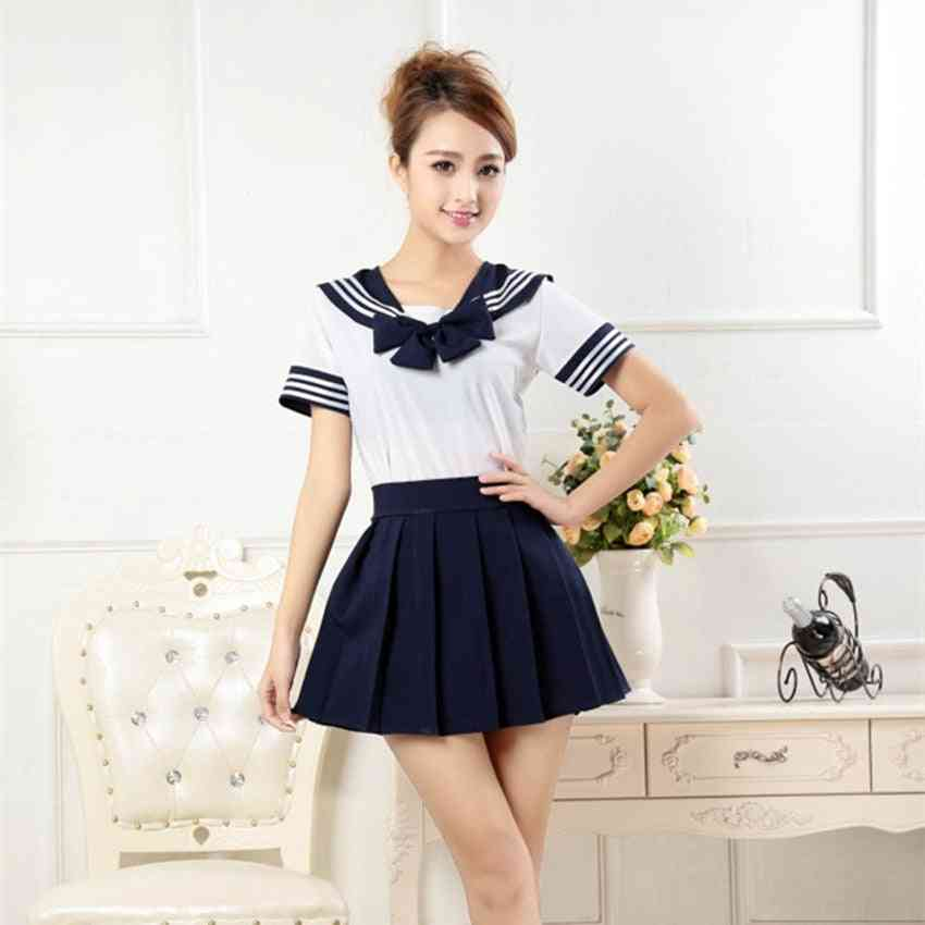 Japanese Style, Sailor Shirt + Pleated Skirt Set- Woman Cosplay, Costumes, Jk Suit For
