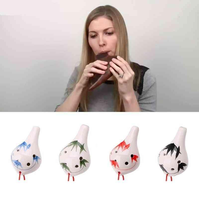 Professional 6 Hole Ocarina Ceramic Alto Ac Key Flute Musical Instrument