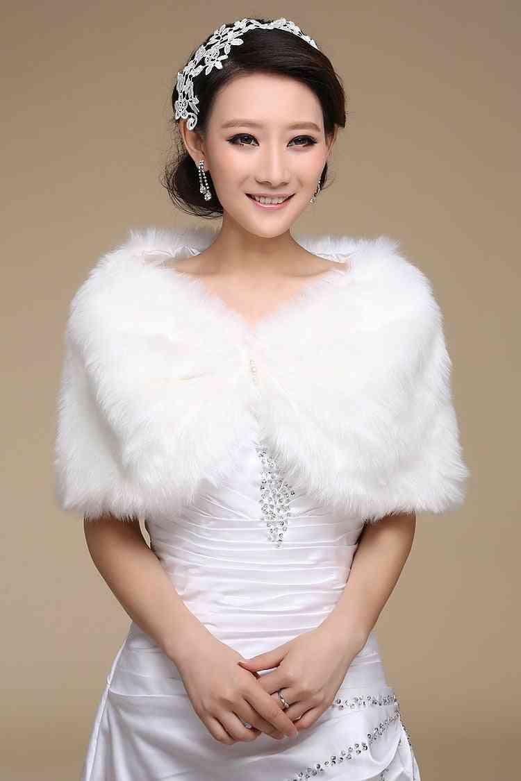 Winter Warm- Faux Fur, Sleeveless Wraps Bridal Jacket