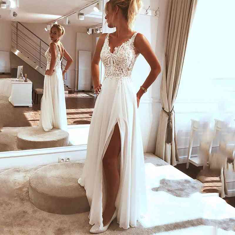 Side-split Top Lace, Boho Bride Gown Dress