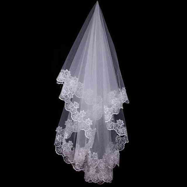 Short Bridal Veils With Lace Edge, Wedding Accessories