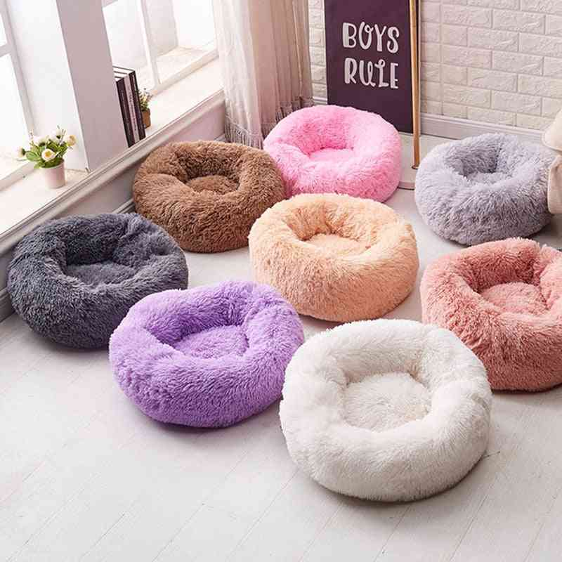 Bed Round Soft, Warm, Long Plush, Pet Bed For Small Cats, Nest, Autumn, Winter, Sleeping Puppy Mat