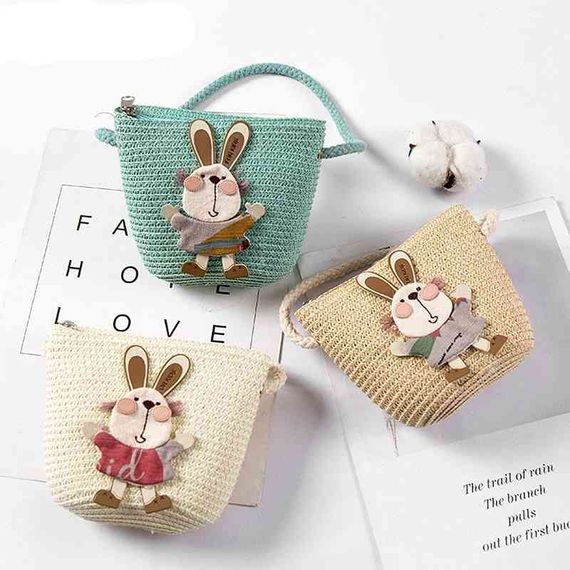 Summer Hand Straw, Inclined Shoulder, Exquisiteness Kids Cartoon Coin Bags