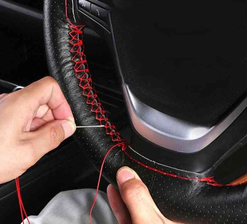 Car Steering Wheel Cover Soft Leather Sewing Kit