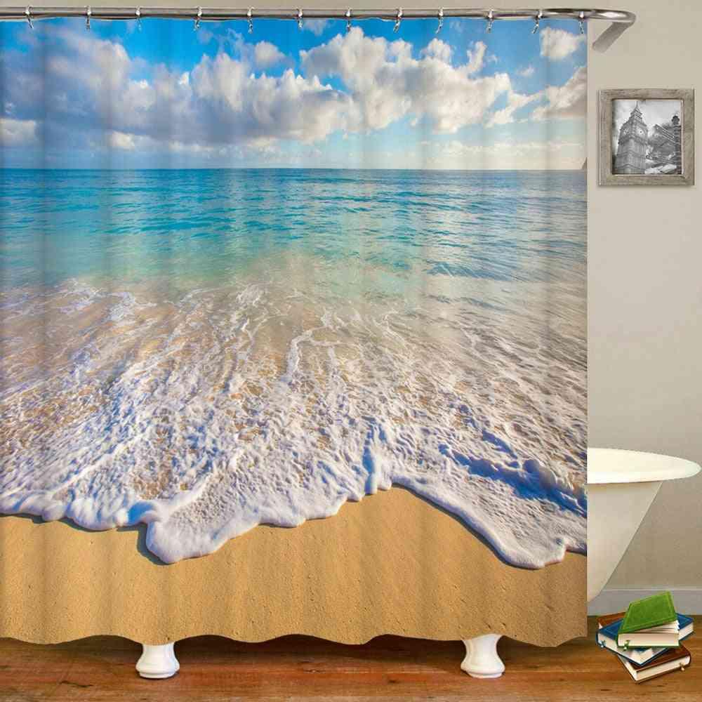 Sea Beach Scenery Shower Curtains, Printing, Bathroom, Waterproof Polyester Cloth, Bath Screen