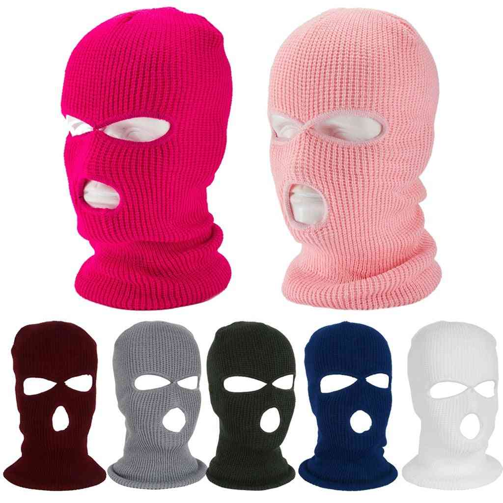Full Face Cover Mask, Three Hole, Balaclava Knit Hat, Army Tactical Cs Winter Ski Cycling Beanie Scarf, Warm Face Masks