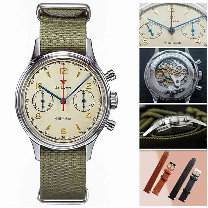 Men Chronograph Watches, Sapphire Mechanical Hand Wind Movement Military Pilot Chronograph Watches