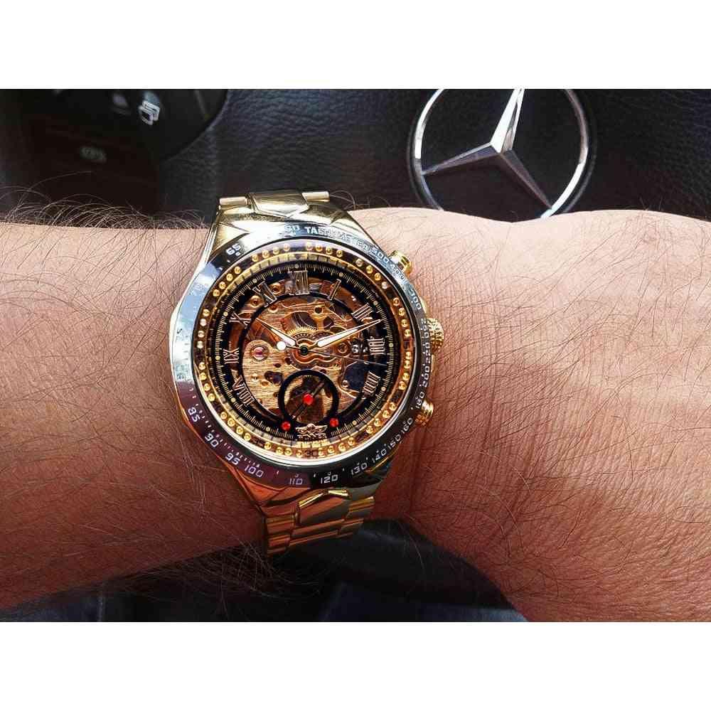 Gewinner mechanische Sport-Design-Lünette goldene Uhr, automatische Skelettuhren