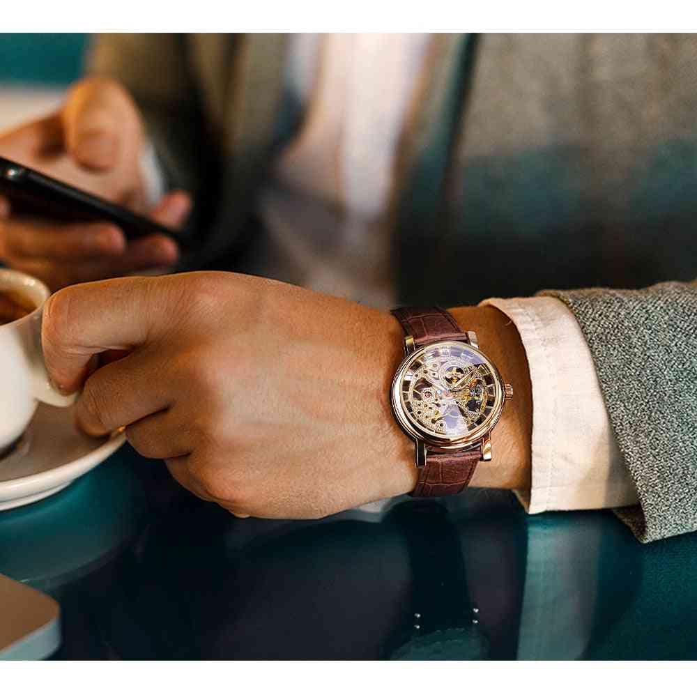 Transparent Golden Case, Casual Design, Brown Leather Strap, Watches Mechanical Skeleton