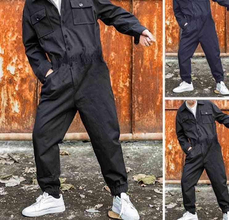 Men Rompers Streetwear, Cargo Overalls Jumpsuit