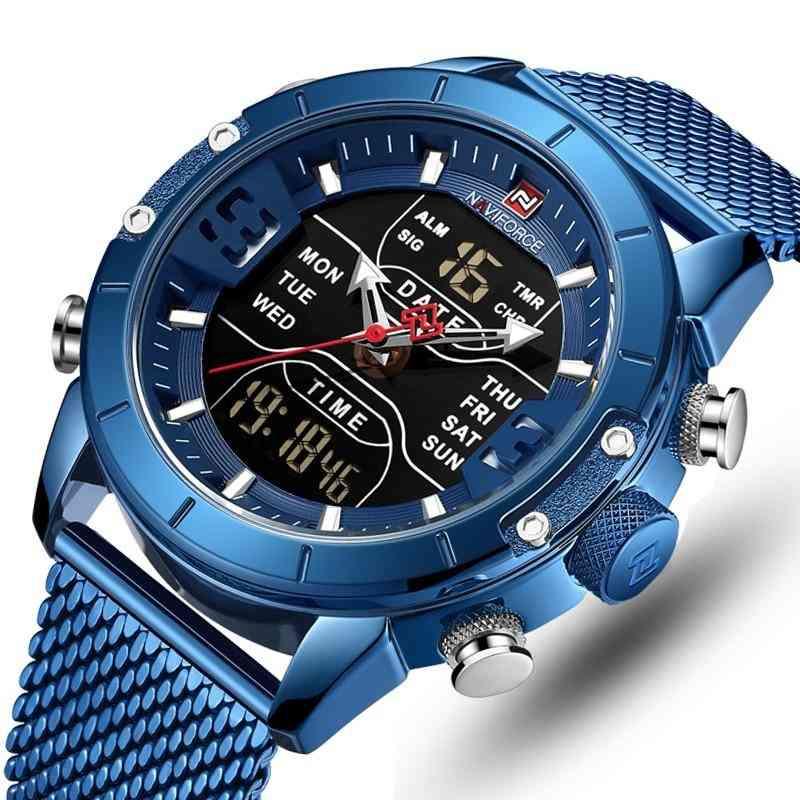 Montres pour hommes style sport de luxe, double horloge numérique à quartz, montre-bracelet militaire en acier pour hommes