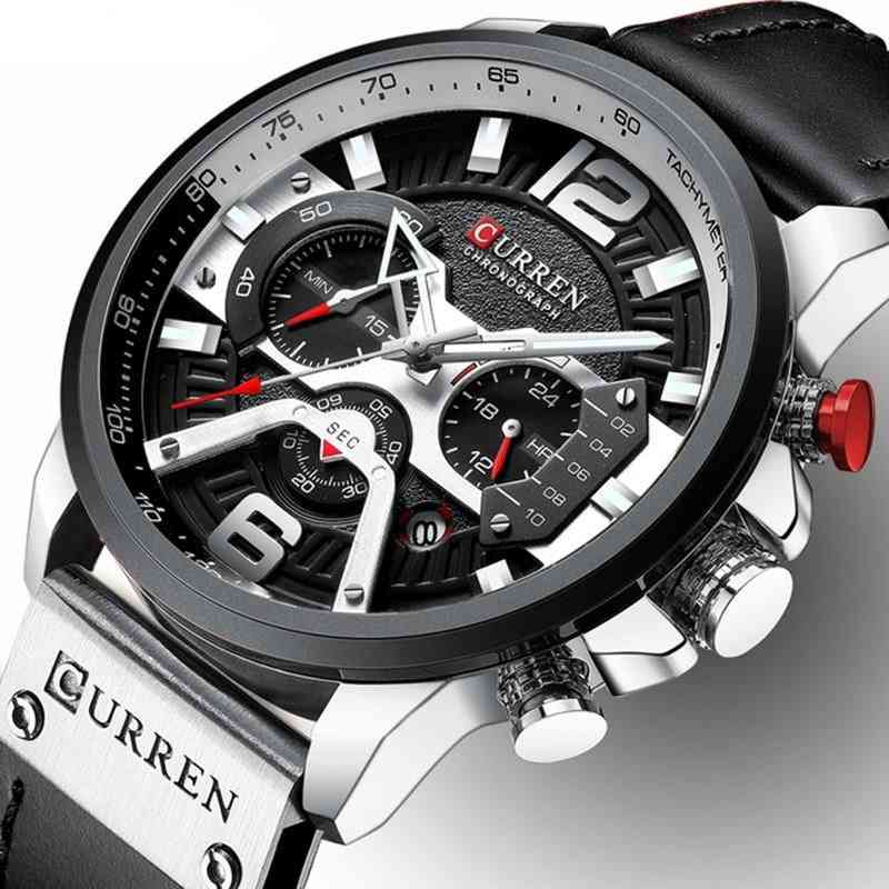 Watches Mens, Sports Watch, Leather Wristwatch With Calendar