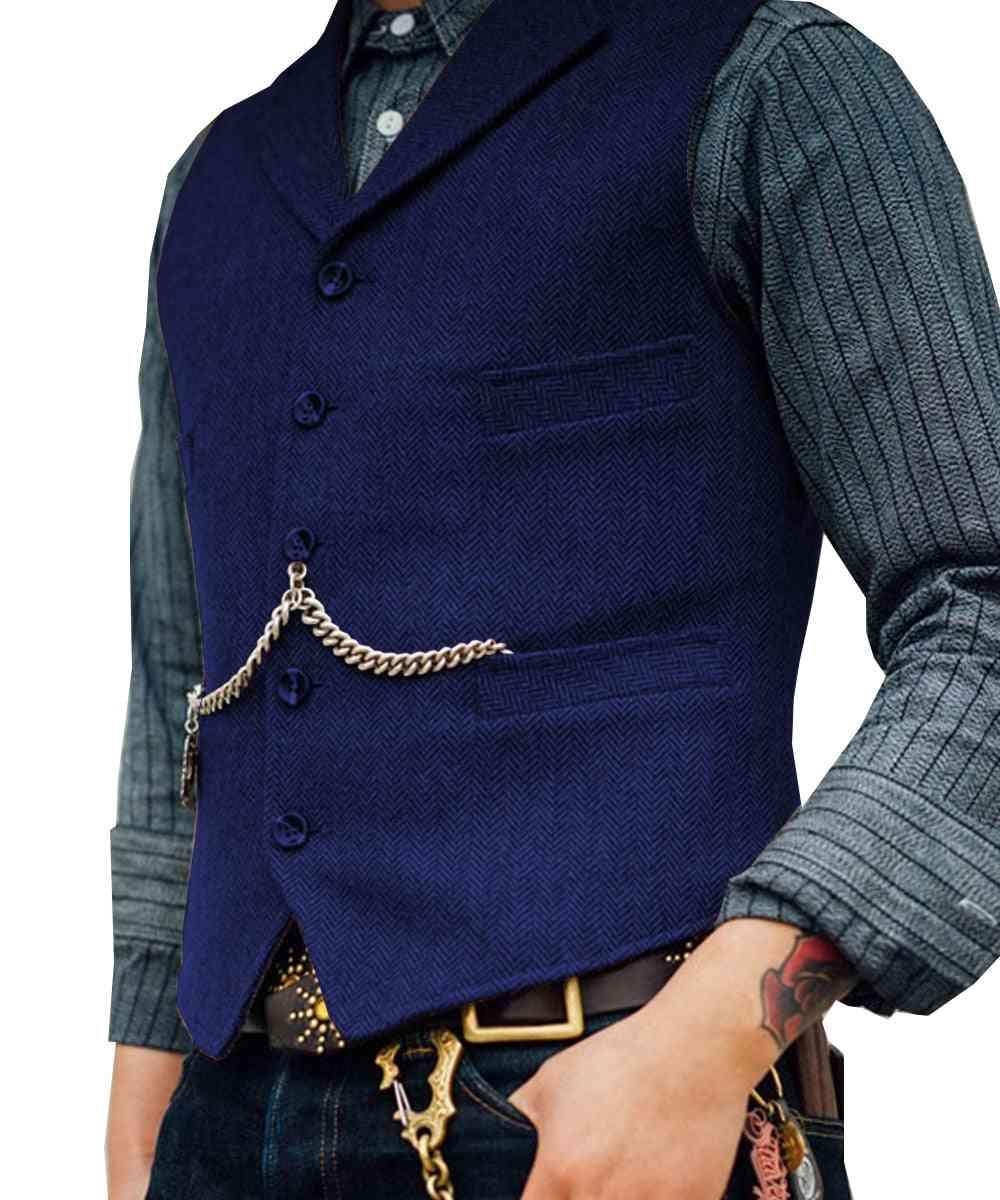 Men's Suit Vest Boutique Wool Tweed Slim Fit Leisure Cotton Business Waistcoat
