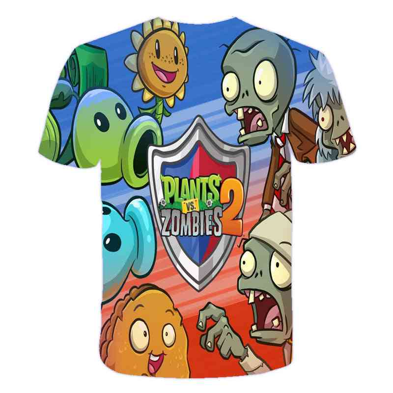 3d Printed, Casual Plants Vs Zombies, Cartoon T-shirt