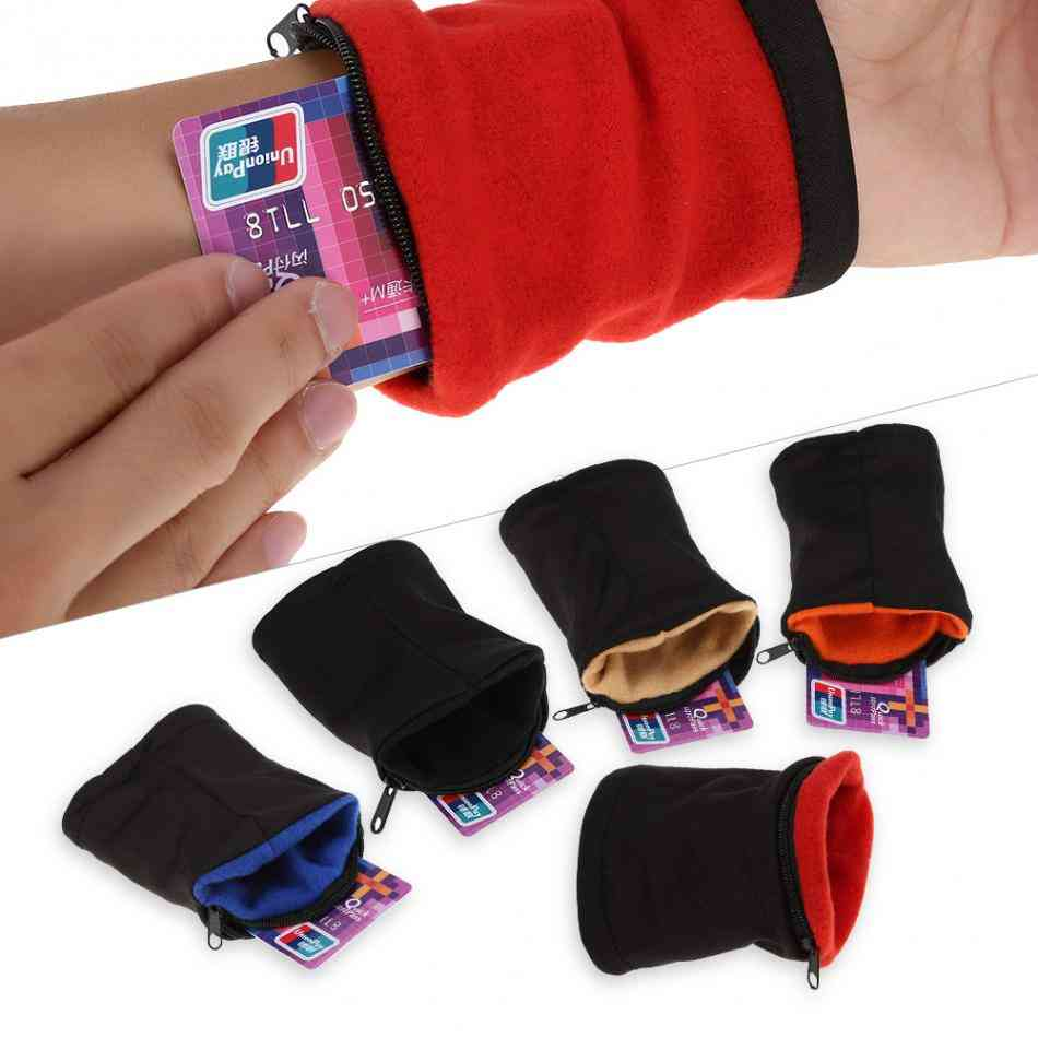 Cotton Running, Wrist Pouch Wallet, Card Safe With Zipper Sports, Strap Bag