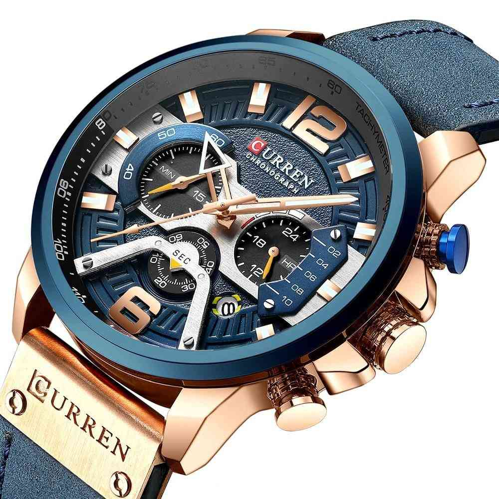 Wristwatch Mens, Men Leather Watches With Calendar, Male Clock