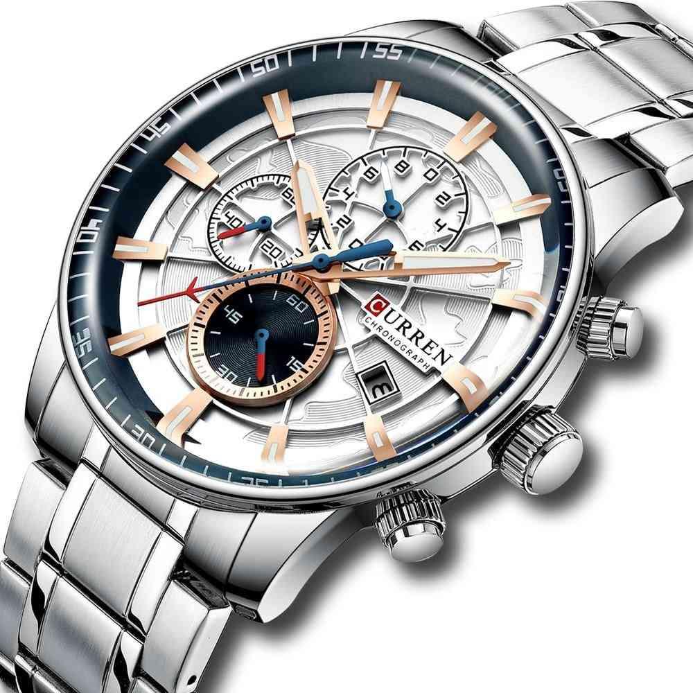Orologi da uomo, orologio al quarzo, acciaio inossidabile, impermeabile, orologio sportivo da lavoro
