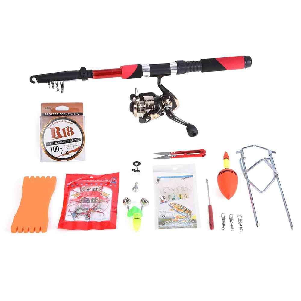 Telescopic Fiberglass Fishing Set Rod, Spinning Reel Baits & Hooks Bag Kit
