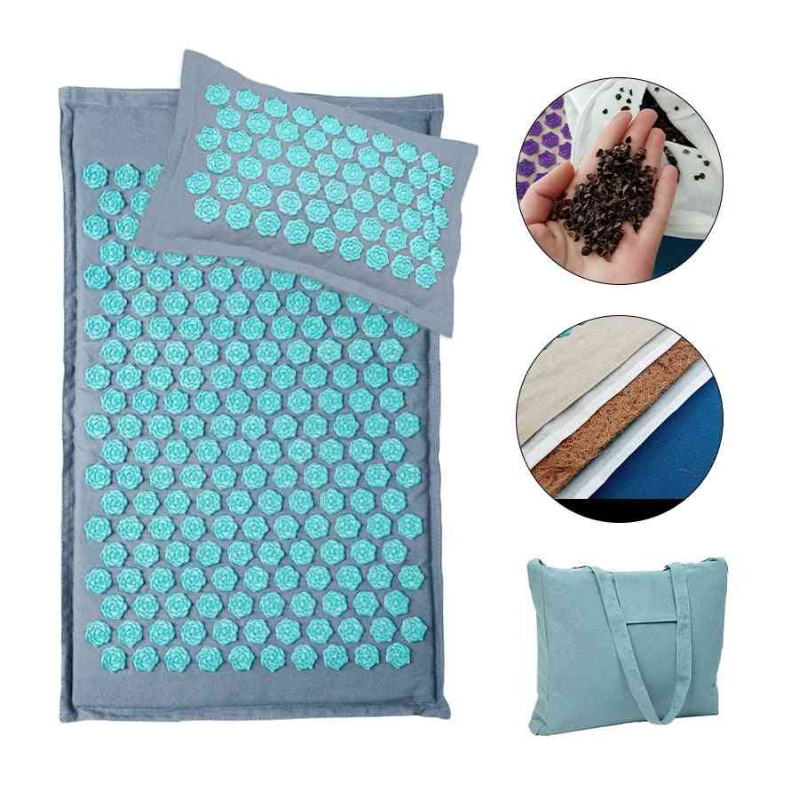 Linen Coconut Palm Acupressure Mat Massage With Bag Relaxation Stress Relief Massager Cushion
