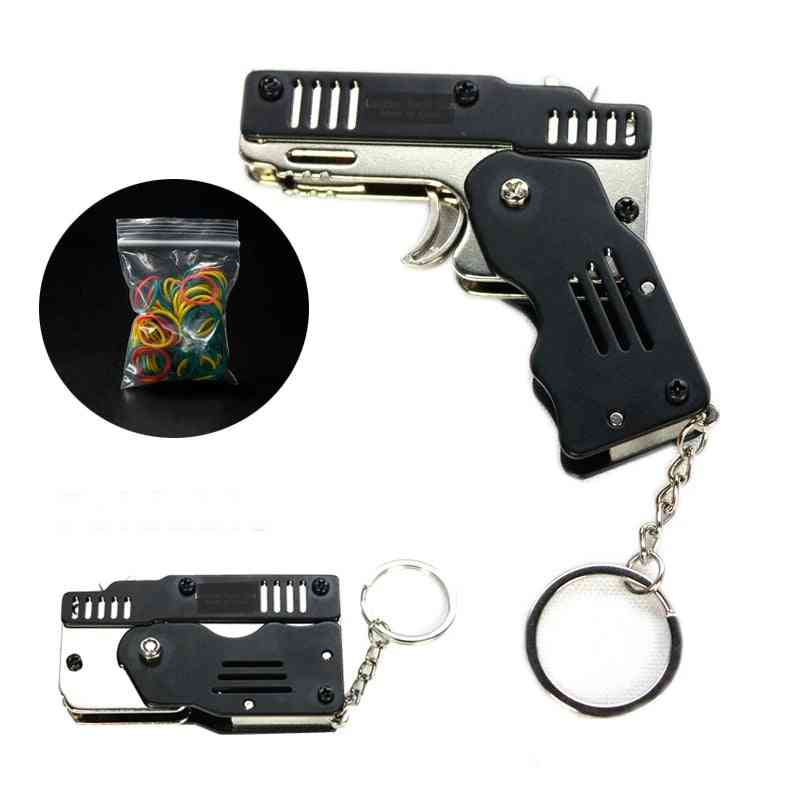 Mini Folding Stainless Steel Rubber Band Launcher Gun Hand Pistol Shooting Toy