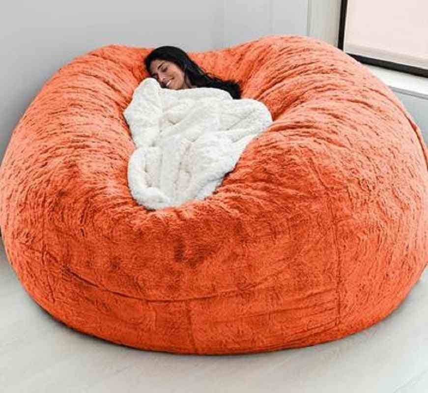 Soft Bean Bag Sofa Cover, Living Room, Furniture, Party Leisure Giant Big Round Fluffy Faux Cushion Bed