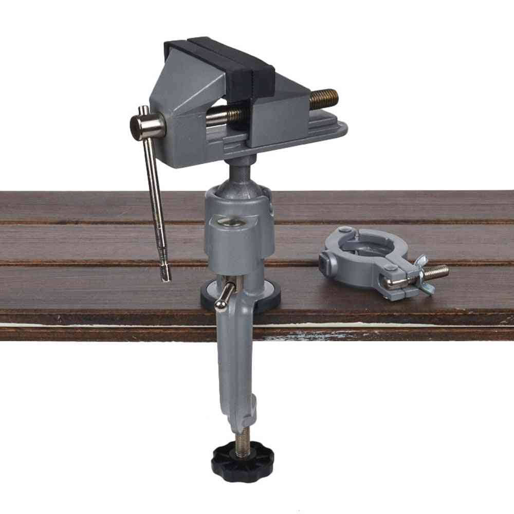 2-in-1 Table Vise Bench Clamp, Grinder Holder, Drill Dremel For Rotary Tool