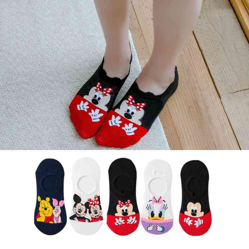 Disney 5 Pairs Casual Cute Women Cartoon Animal Invisible Ankle Cotton Sock