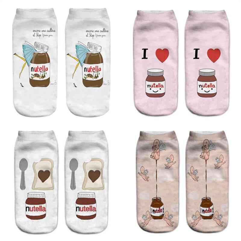 Funny Cute 3d Print Food, Nutella Character Sock