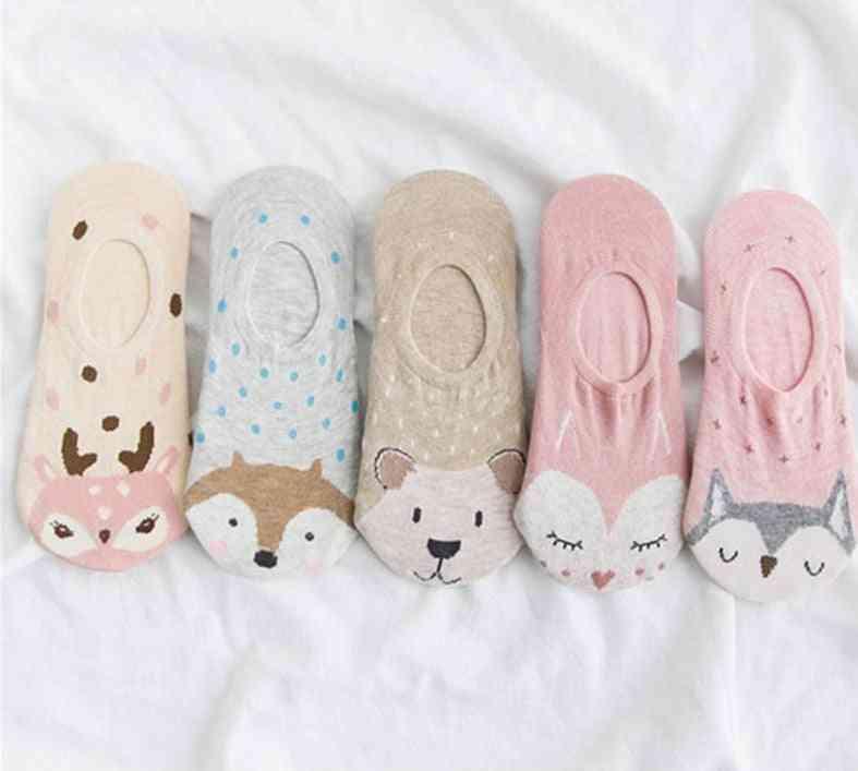 5pairs Cartoon Cute Animal Women Short Ankle Sock