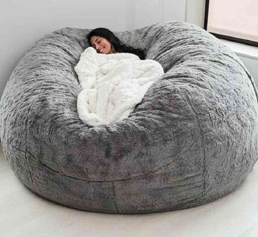 Dropshiping Fur Soft Bean Bag Sofa Cover Living Room Furniture Party Leisure Giant Big Round Fluffy Faux Cushion Bed