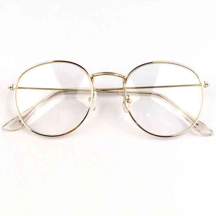 New Woman Glasses Optical Frames Metal Round Glasses Frame Clear Lens Glass