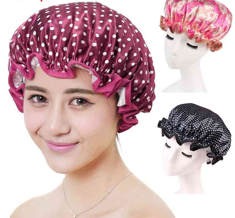 Thick Women Shower Caps, Double Layer, Bath Hair Cover, Adults Waterproof
