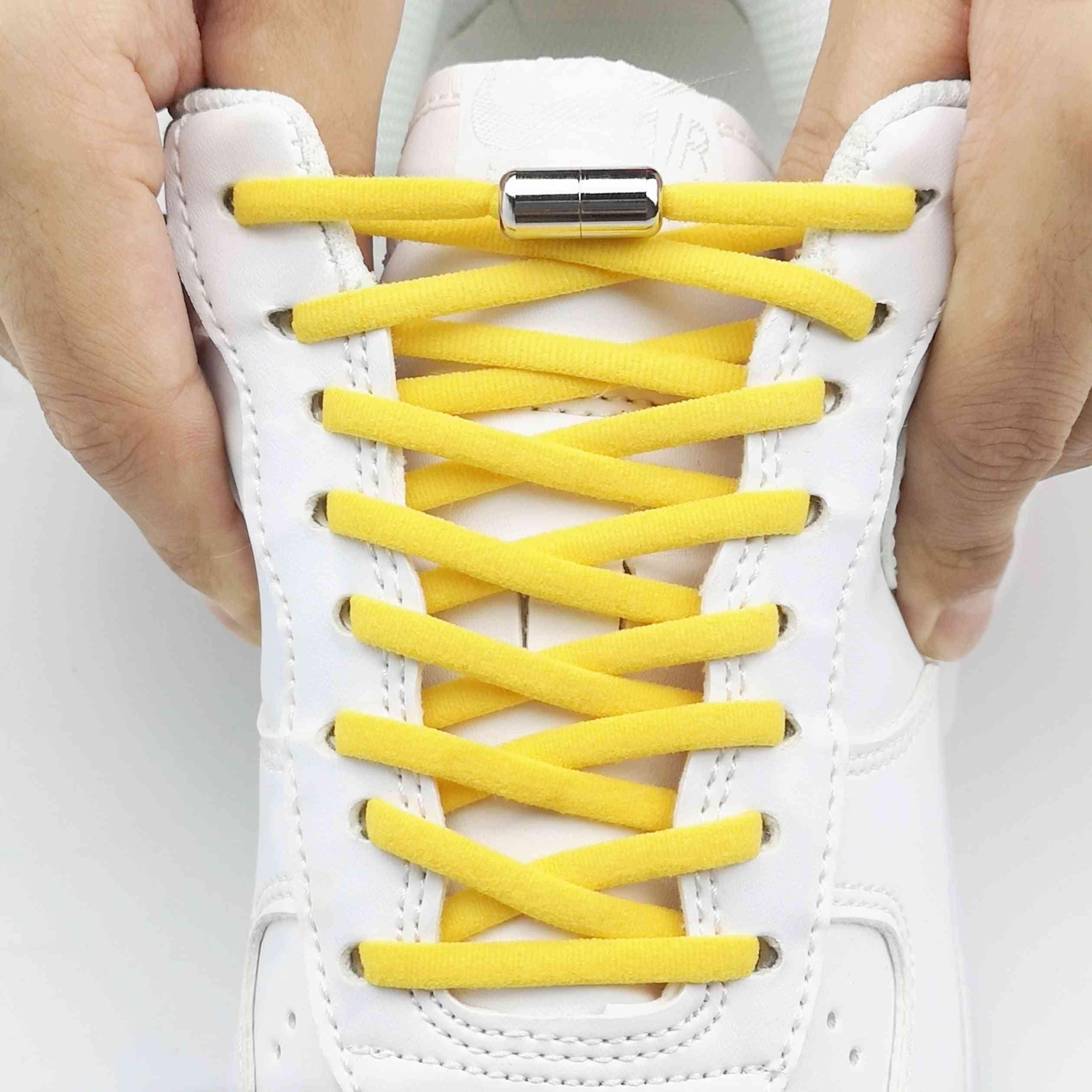 1pair Elastic No Tie Shoelaces Metal Lock Shoe Laces Adult Women Men