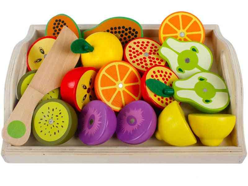 Wooden Classic Game Simulation Kitchen Series, Cutting Fruit And Vegetable, Montessori Early Education