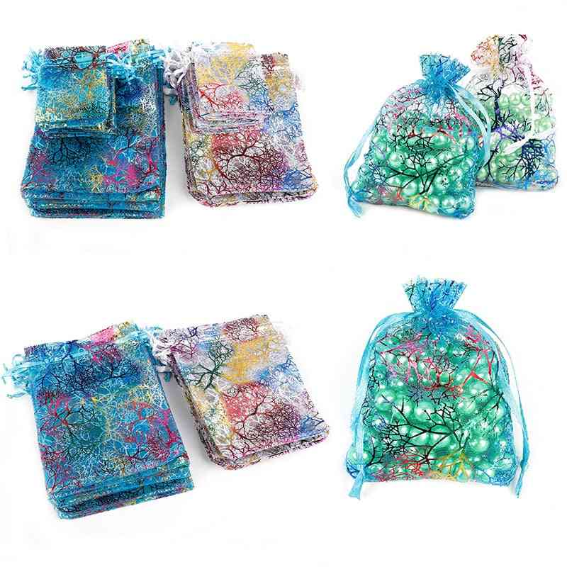 Drawstring Organza Bags, White&colorful Jewelry Packaging, Wedding Pouches