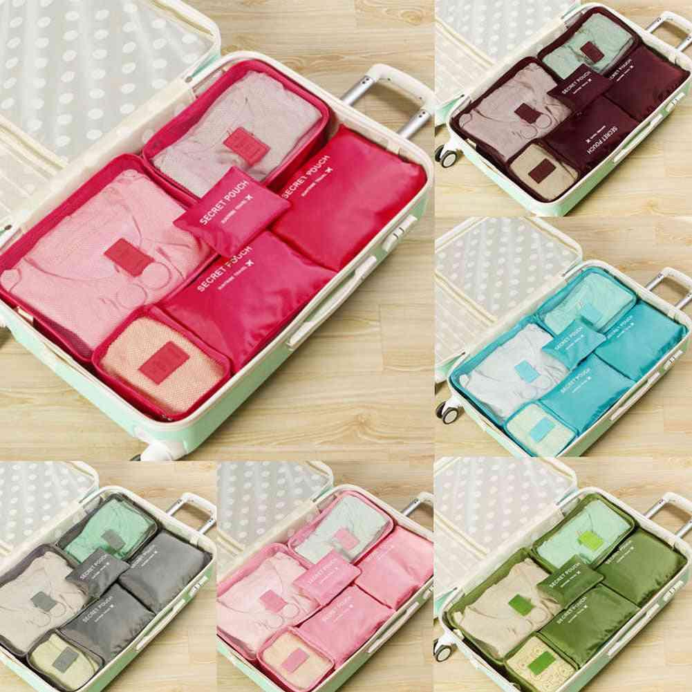 6pcs Travel Clothes Storage Waterproof Bag