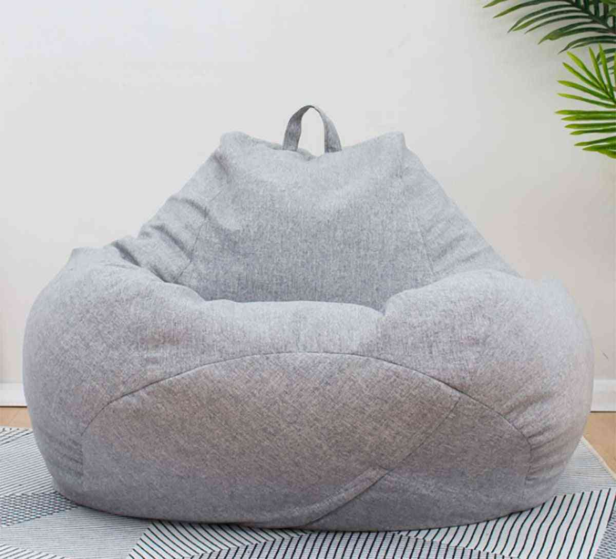 Bean Bag Sofas Cover Chairs Without Filler Linen Cloth Lounger Seat