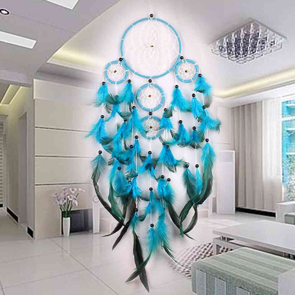 Handmade Dream Catcher Hanging With Rattan Bead Feathers Wall Car  Decoration Ornament Dreamcatcher