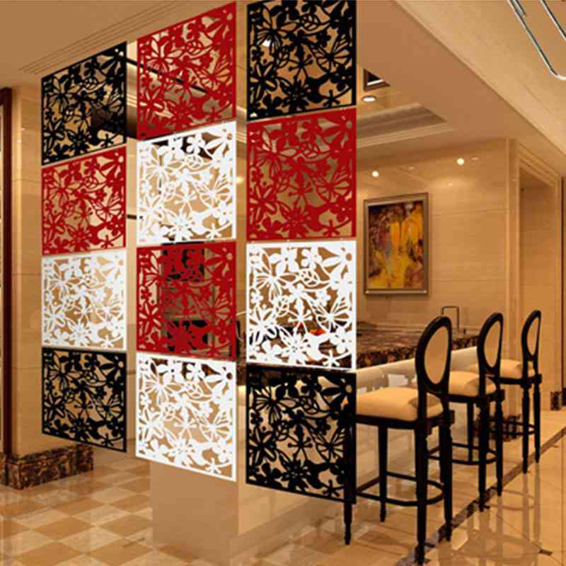 Hollow Hanging Screen Room Divider Home Decoration Living Stickers Curtain Butterfly Flower Partition