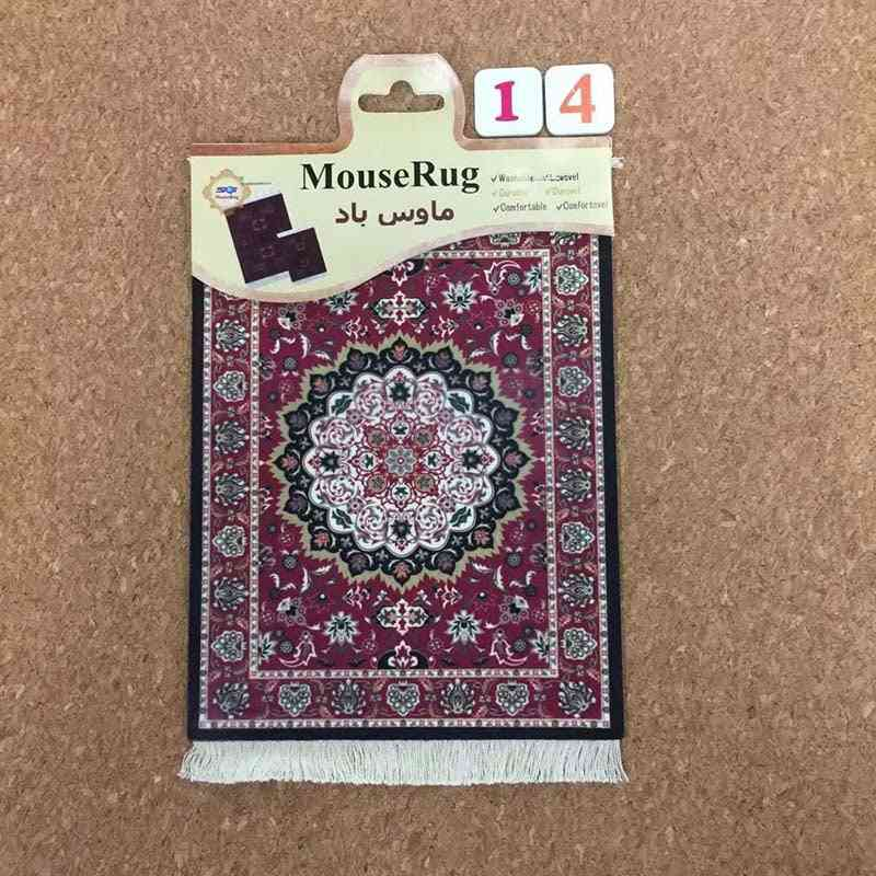 Mini Woven Rug Mat, Retro Style Carpet Pattern, Cup Mouse Pad