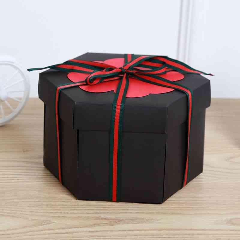 Diy  Hexagonal Explosion Creative Box Scrapbook Photo Album For Valentine's Wedding Albums (black)