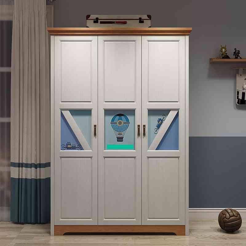 All Solid Wood Teenager Bedroom Wardrobe Nordic Modern 3-door Storage Cabinet