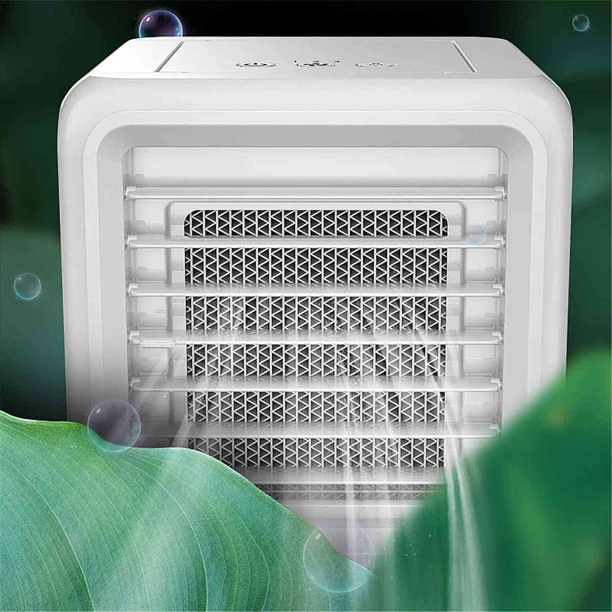 Mini Air Conditioner Led Conditioning Humidifier Purifier Usb Desktop Air Cooler (white)