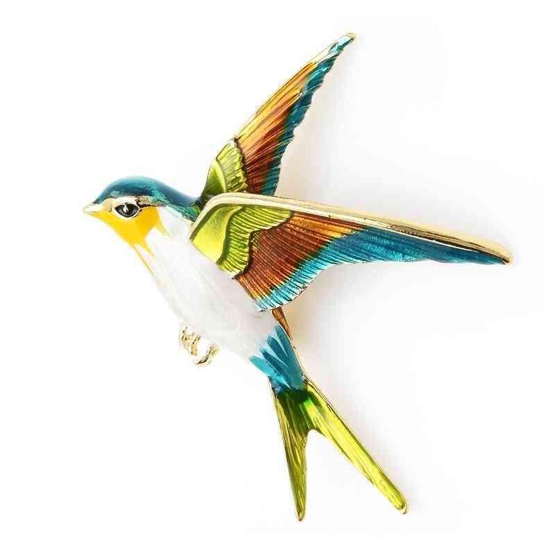 Enamel Flying Bird Swallow Brooch Pin