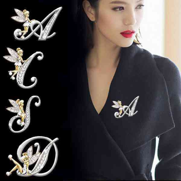 Elf Angel Lapel, Crystal Letter Word Brooches Accessories