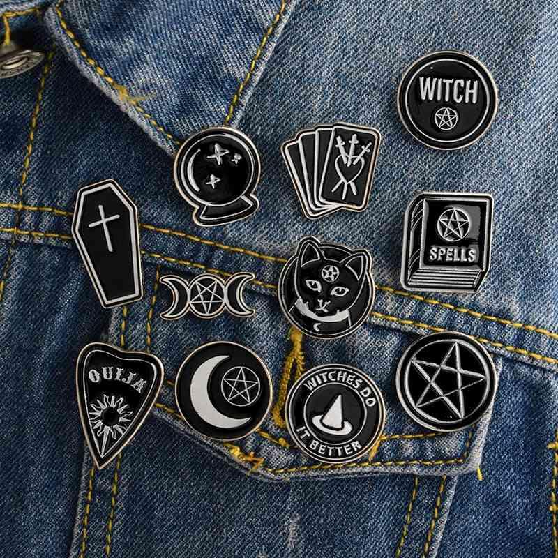 Spells Black Moon Pins Badge Brooches Lapel Pin