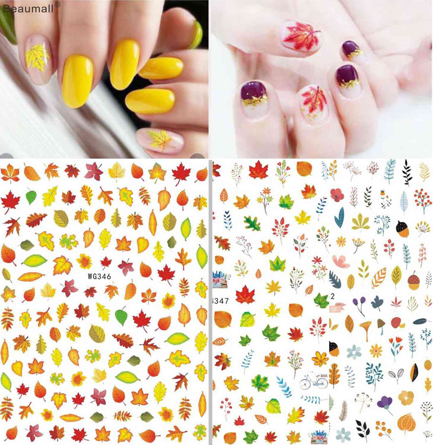 Maples Autumn Nails Art Manicure Back Glue Decal Decorations Sticker For Beauty