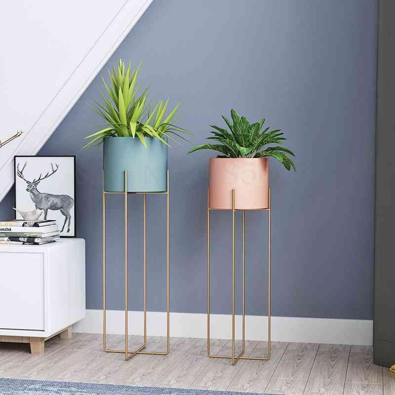 Nordic Wrought Iron Flower Stand Single Indoor Living Room Floor Modern Minimalist Flower Rack