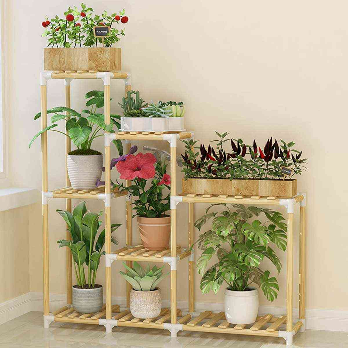 Wooden Flower Rack Plant Stand Multi-layer Shelves Balcony Coffee Bar Indoor Garden Wood Plant